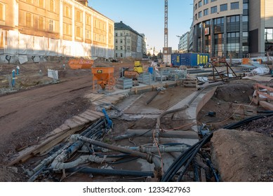 Magdeburg, Germany - November 16, 2018: View of the tunnel construction site in Magdeburg, Germany.