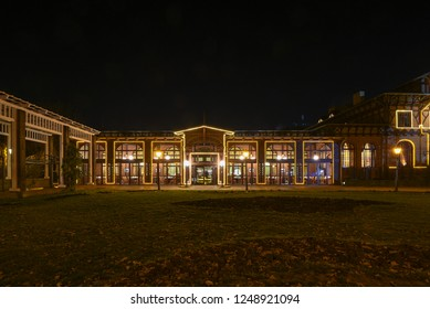 Magdeburg, Germany - November 28, 2018: Nocturnal view of the Dorint-Hotel Herrenkrug in Magdeburg, Germany, illuminated for Christmas.