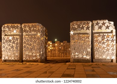 Magdeburg, Germany - November 4, 2018: View of granite columns with stars containing inscriptions from private individuals and sponsors. The work of art stands at the Sternbrücke in Magdeburg