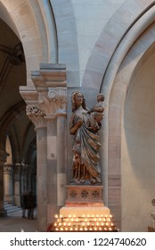 Magdeburg, Germany - November 4, 2018: View of the Holy Mary holding Jesus in her arms in Magdeburg Cathedral, Germany.