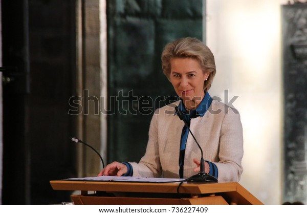 MAGDEBURG, GERMANY - October 17, 2017: The Federal Minister of Defense, Dr. Ursula von der Leyen, is speaking at the Magdeburg Cathedral to the winner of the Emperor Otto Prize, Federica Mogherini.