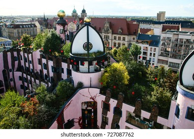 MAGDEBURG, GERMANY - OCTOBER 3, 2017: The Hundertwasserhaus (The Green Citadel of Magdeburg) designed by Austrian artist Friedensreich Hundertwasser.
