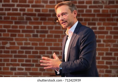 MAGDEBURG, GERMANY - September 10, 2017: Christian Lindner, leader of the liberal Free Democratic Party of Germany (FDP), during during a speech in Magdeburg. German Election 2017.  (Bundestagswahl)