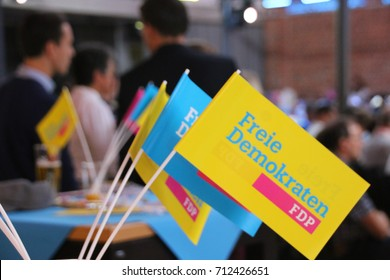 MAGDEBURG, GERMANY - September 10, 2017: Flags of the liberal Free Democratic Party of Germany (FDP), during a speech of Christian Lindner, leader of FDP. German Election 2017.  (Bundestagswahl)