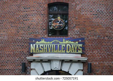 MAGDEBURG, GERMANY - September 30, 2017:  Magdeburg celebrates the Nashville Days. The photo shows the Entree of the festival with Johnny Cash cover bands. (Magdeburg is the sister city of Nashville.)