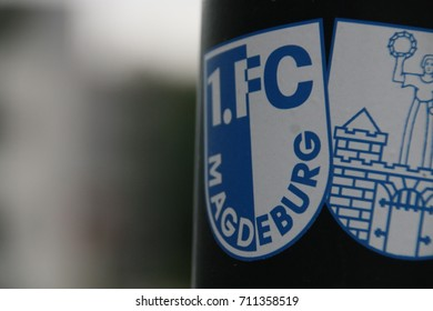 MAGDEBURG, GERMANY - September 8, 2017: Coat of arms of the football club 1. FC Magdeburg and the city Magdeburg.