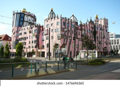 Magdeburg, Sachsen-Anhalt/Germany - July 28th, 2009: The Green Citadel of Magdeburg, completed in 2005, is the last building famous architect Friedensreich Hundertwasser worked on prior to his death.