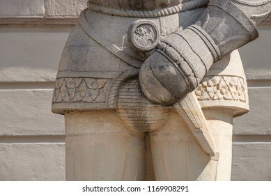 Magdeburger Roland Knight statue, Old Town Hall, Rathaus, Magdeburg, Saxony-Anhalt, Germany, Autumn, closeup