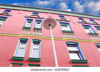 Magdeburg,Germany – 02/28/2019: house facade, Otto-Richter-Street, color design from Carl Krayl and Bruno Taut in 1921