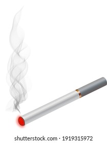 mage of a smoking cigarette isolated on the white background.