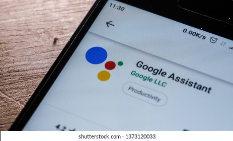 Magelang, Central Java, Indonesia, April 16, 2019. Google Assistant app in play store. close up on the Android Smartphones screen. - Image