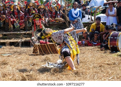 Magelang, Central Java, Indonesia - July 24th 2016 : Many people watching a dancer doing the Topeng Losari dance