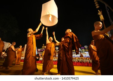 Magelang, Central Java / Indonesia - May 18, 2019: The Monks flies Laterns to Celebrate Vesak Day 2019 on Borobudur Temple.
