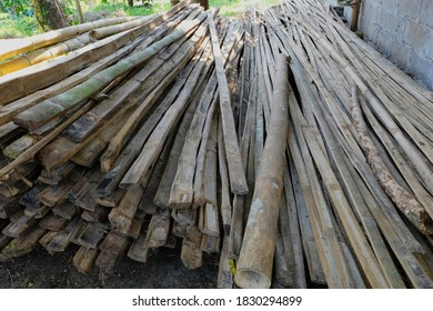 Magelang, Central Java/Indonesia - June 30, 2019: A pile of unused bamboo pieces