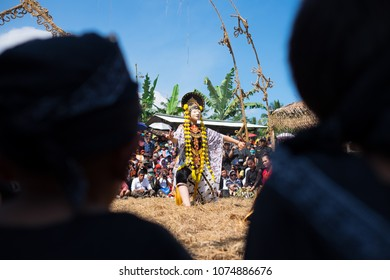 Magelang, Indonesia - June 24, 2016: Losari mask dance (topeng losari) performance at the Five Mountains Festival. The event was held to celebrate local art and culture.