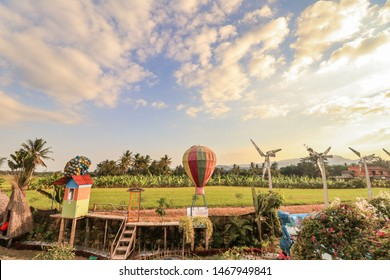 Magelang, Indonesia - June 30, 2019. Naura Park is a new tourist attraction in Magelang, where it was only opened in December 2018 yesterday. Magelang indeed continues to develop its tourism objects.