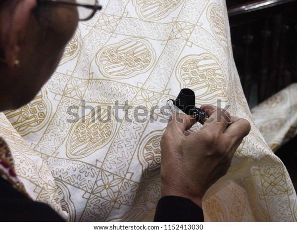 Magelang Indonesia on September 05, 2015: drawing batik art