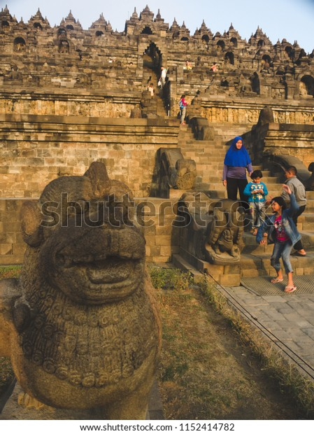 Magelang Indonesia on September 06, 2015: visitors and Borobudur Buddhist temple