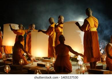 MAGELANG, May 19th 2019: Lantern flying over stupa of Borobudur Temple. Waisak/Vesakha/Vesak - the celebration of Buddha