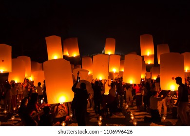 MAGELANG, May 29th 2018:  Crowd of people in Borobudur Temple, before releasing thousands of lanterns - Ritual ceremony of Buddhism on Vesak day in Indonesia