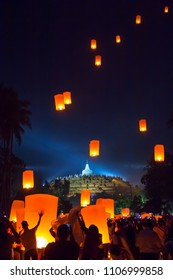MAGELANG, May 29th 2018: Lantern flying over stupa of Borobudur Temple. Waisak/Vesakha/Vesak - the celebration of Buddha