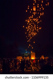 MAGELANG, May 29th 2018: Thousands of lanterns released into night sky by Buddhists in Borobudur Temple Indonesia, as part of Vesak Day celebration. Each symbolizes individual hopes and prayer.