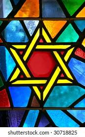 Magen David star glass painting at synagogue