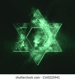 Magen David symbol, Star of David. Green symbol