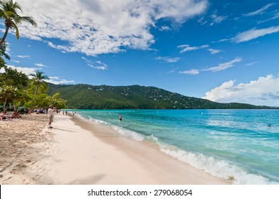 MAGENS BAY, ST. THOMAS, U.S. VIRGIN ISLANDS - DECEMBER 5: People enjoy a sunny afternoon at the Magens Bay beach, voted Top ten beach by National Geography, St. Thomas, U.S.V.I. at December 5, 2011.