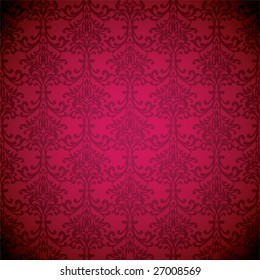 Magenta floral inspired wallpaper background with seamless repeat design