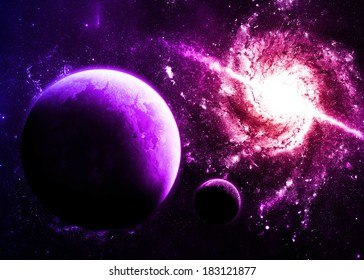 Magenta Planet and Galaxy - Elements of this Image Furnished By NASA