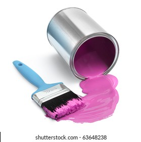 Magenta red paint tin can fallen with blue brush on white background isolated
