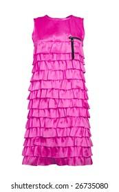 magenta silk summer dress with frill