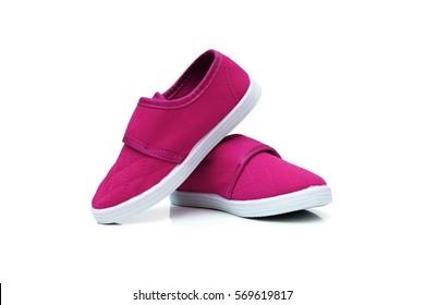 Magenta slip on shoes isolated