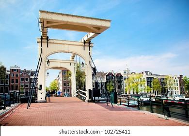The Magere Brug, Skinny Bridge. Amsterdam, Holland, Netherlands