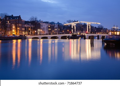 The Magere Brug (Skinny Bridge) on the Amstel river in the Netherlands