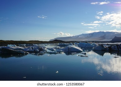 Magestic Jökulsárlón on island with blue sky and beautiful ice rocks