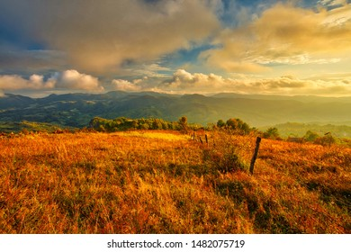 Magestic sunset in the carpatian mountains. Natural autumn landscape.