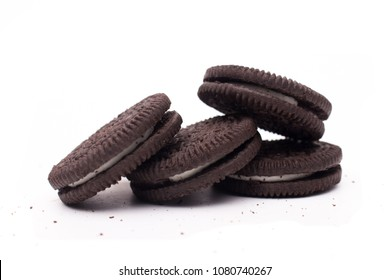 MAGETAN, INDONESIA - MAY 1ST, 2018: Oreo Cookies close-up shot on white background isolated. Oreo is a sandwich chocolate cookie with a sweet cream is the best selling cookie in Indonesia.