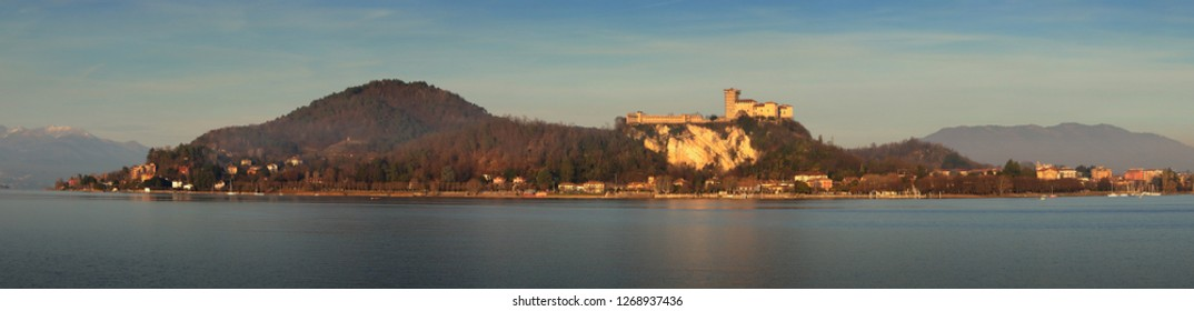 MAGGIORE LAKE WITH ANGERA FORTRESS PLACED IN NORTHERN ITALY IN EUROPE ON DECEMBER 2018
