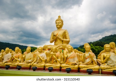 Magha Puja temple. An outdoor temple with 1250 buddha images, alms-bowls of important Figure and one Large Buddha lord image.