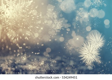 Magic abstract holiday background - Fireworks at New Year and copy space