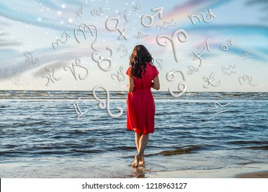 Magic astrology and zodiac signs against the background of the sea and the sky
