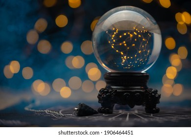 magic ball predictions. mysterious composition. Fortune teller, mind power, prediction concept. copy space