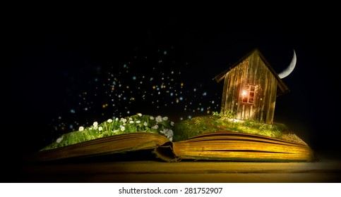 Magic book with elfhouse and field