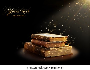 magic books with magic light. Education