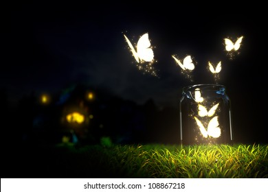 magic butterfly take off from glass jar
