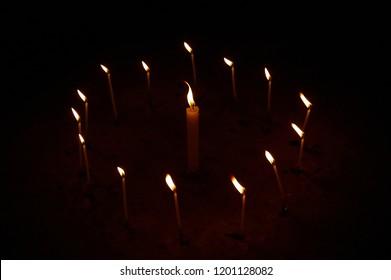 Magic circle of candles