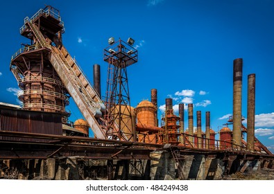 Magic City historical structure in Birmingham, Alabama . Blue skies and white clouds. Structurally pleasing. The historic Sloss Furnaces, Downtown Birmingham. Old furnace steel mill. Great tours.