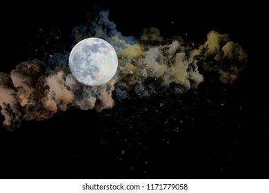 magic cloud moon in the night